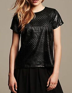 NWT-Banana-Republic-New-79-50-Women-Perforated-Faux-Leather-Top-Size-Medium