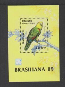 Nicaragua - 1989, Brasiliana '89 Stamp Exh. Birds sheet - MNH - SG MS3067