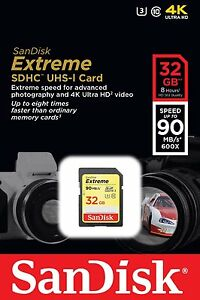Sandisk 32 GB Extreme SDHC Class 10 Memory Card 90MB/S (SMP4)