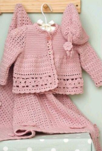 Crochet Pattern for Babys Veste//Chapeau /& Manteau 0-3 ans ~ 18 mois. B57