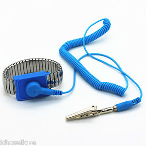 BLUE-Anti-Static-Antistatic-ESD-Adjustable-metal-Wrist-Strap-Band-NEW