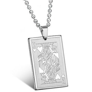 Mendino mens stainless steel pendant necklace king of hearts poker image is loading mendino men 039 s stainless steel pendant necklace mozeypictures Image collections