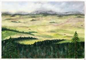 Fields-original-watercolor-landscape-painting-nature-mountains-tree-forest-relax