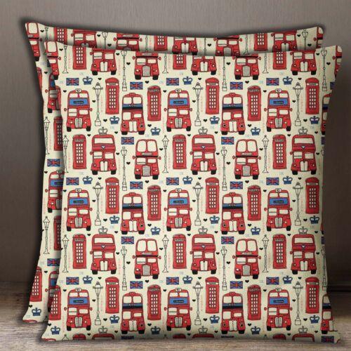 S4Sassy 2 Pcs UK Theme Architectural Cushion Cover Cotton Poplin Square