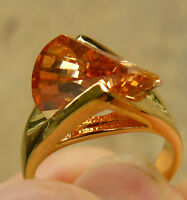 Cz Ring Lazer Multi-faceted Cut Rose Gold Topaz Color Hge Gold Finish