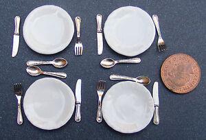 Escala-1-12-Conjunto-de-4-placas-de-ceramica-y-metal-cubiertos-tumdee-Munecas-Accesorios-Casa