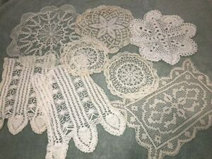 Lot-of-8-Vintage-Handmade-Crocheted-Doilies-White-Ecru-8-14-034-Rd-Granny-Cottage