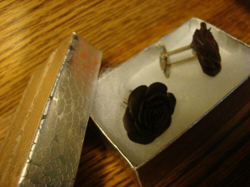 1 Pair #2 WHITE Rose Flower Design Hamilton Silver Plated Cuff links W//Gift Box