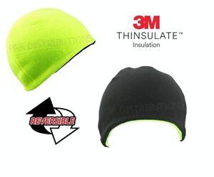0434f7a2306 Men s 3M Thinsulate Hi Vis Thermal Fleece Reversible Beanie Cap Hat ...