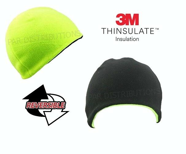 Men/'s 3M Thinsulate Hi Vis Thermal Fleece Reversible Beanie Cap Hat Workwear Viz