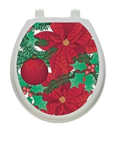 Toilet Tattoos Poinsettia Vinyl Removable Christmas  Lid Decor