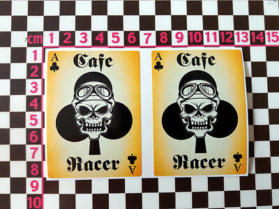 2 x Cafe Racer Ace Of Clubs Stickers British Classic Motorbike Motorcycle Bike