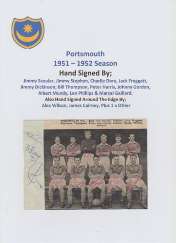 PORTSMOUTH 19511952 SEASON RARE ORIGINAL FULLY HAND SIGNED M GROUP 14 X SIGS