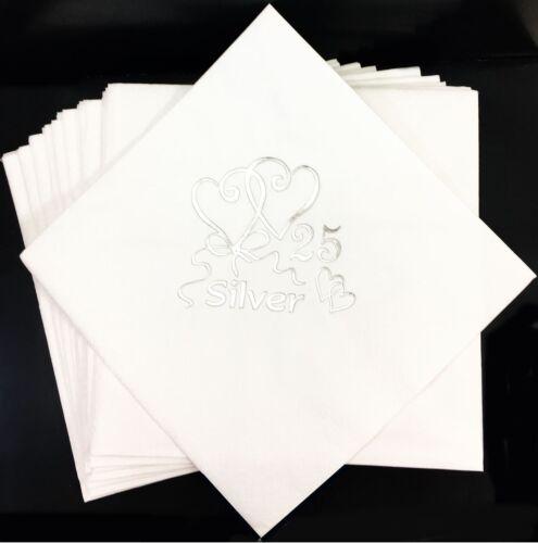 Scintillant Argent 25 Anniversaire Serviettes Papier Fête Serviettes de Table Célébration