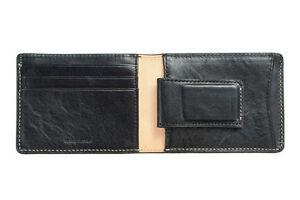Status Anxiety Men Ethan Money Clip Leather Bi Fold Bill Wallet Black Chocolate