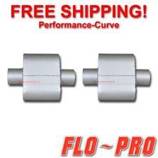 Pair Of Single Chamber Performance Race Mufflers Flo Pro Super V 3 V430109