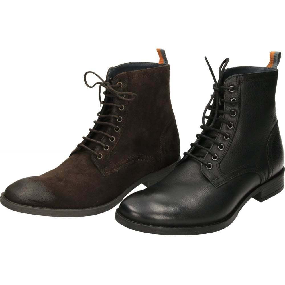 Frank Wright Birch Negro Leather Lace Ankle Up Marrón Oily Suede Ankle Lace Derby botas ac5582