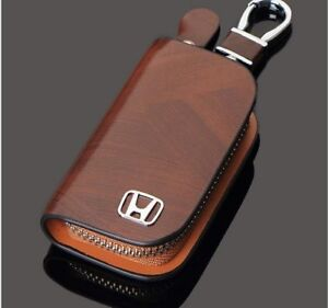 Honda Leather Car Key Keychain Fob Case Holder Zipper Cover High Quality Brown