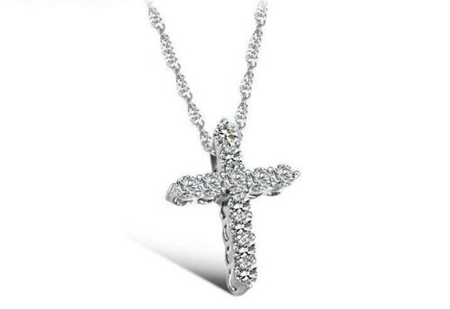 CROSS WOMEN NECKLACE GOLD AND SILVER WOMEN RELIGIOUS JEWELRY PENDANT