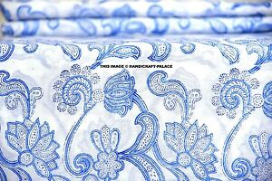 5-Yard-Hand-Block-Floral-Print-Fabric-Natural-Handmade-Cotton-Indian-Sanganeri