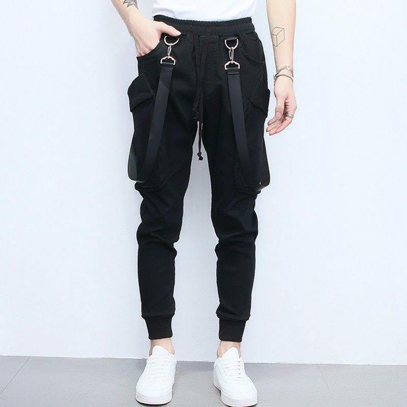 Mens Casual Suspender Fashion Slin Fit Long Cargo Vogue Pants Jumpsuits Trousers