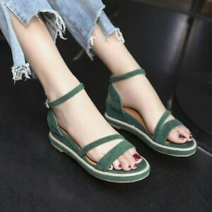 Womens-Mid-Wedge-Ankle-Strap-Open-Toe-Sandals-Casual-Summer-Work-Dress-Shoes-Sz