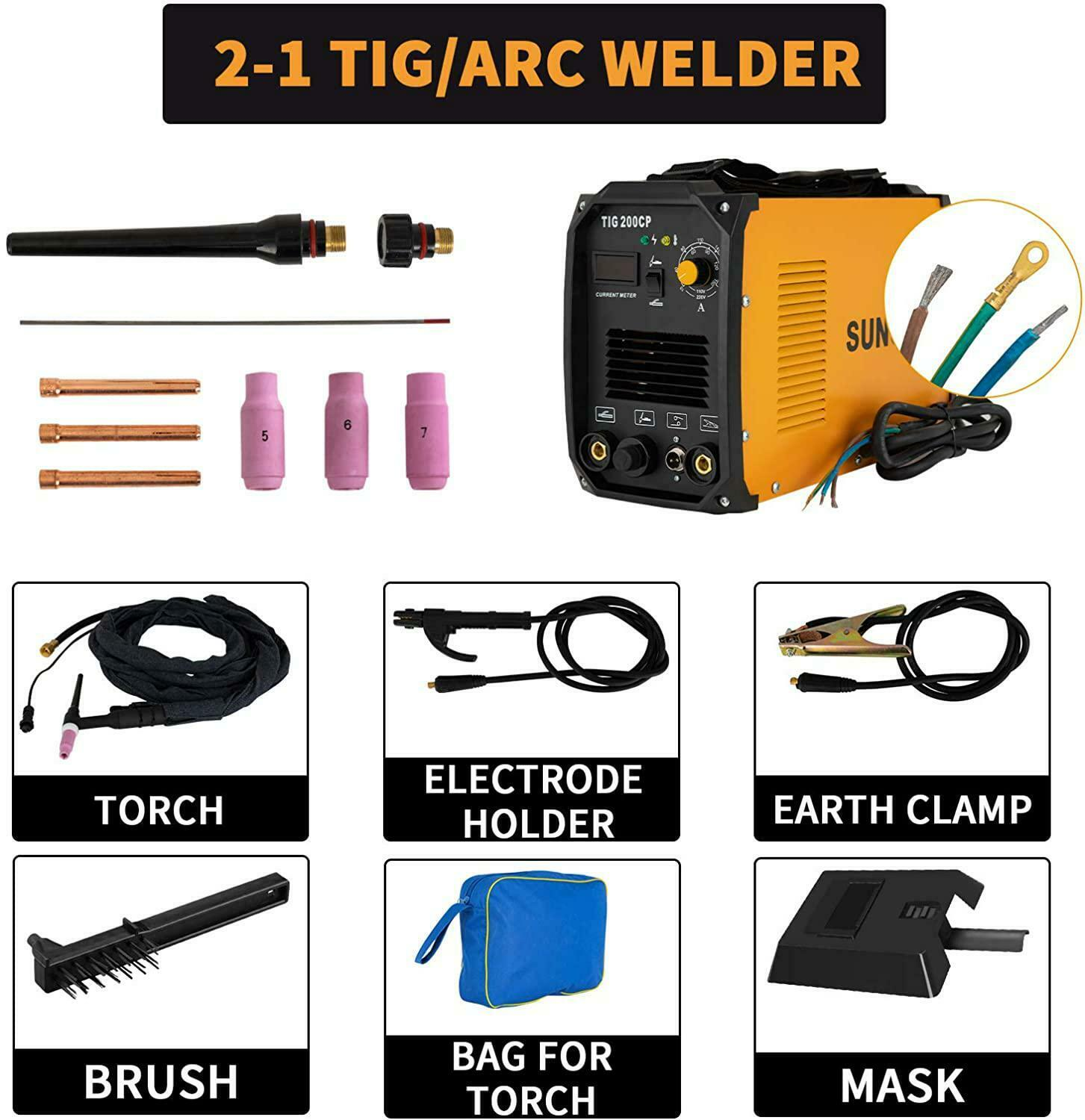 SUNCOO TIG Welder, 200 Amp TIG&MMA/STICK/ARC Welding Machine LED Digital Display. Available Now for 259.99
