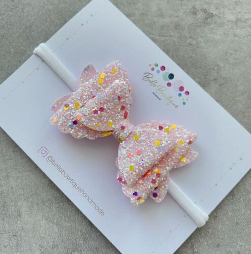 Superbe Rose Paillettes Noeud Blanc Bandeau Fille Bébé nouveau-né Bébé Cadeau
