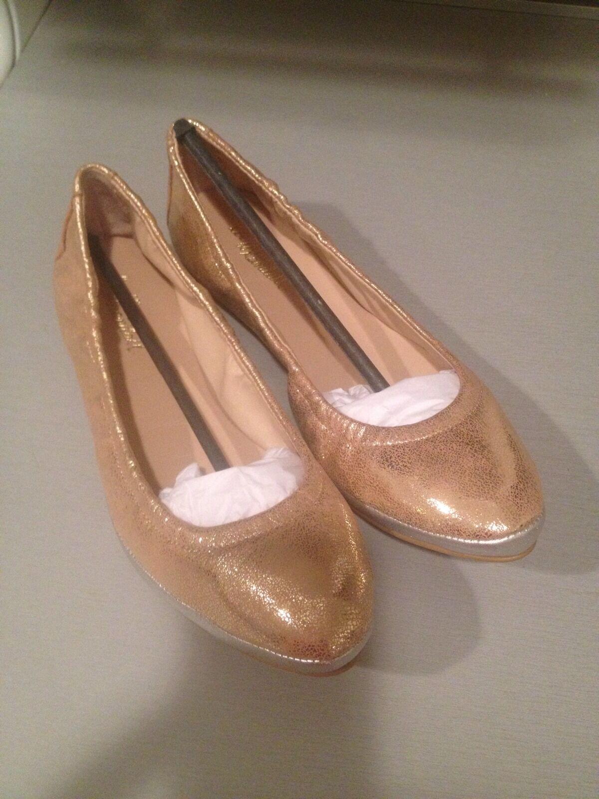 NEU Loeffler Randall Georgie Ballet Flats Embossed Leder Gold Silver 6 B 195