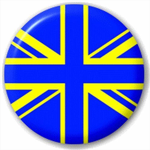 Blue Yellow Union Jack Team Flag 25Mm Pin Button Badge Lapel Pin Leeds United