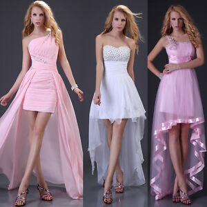Elegant Women formal evening Mini dress short front long back ...