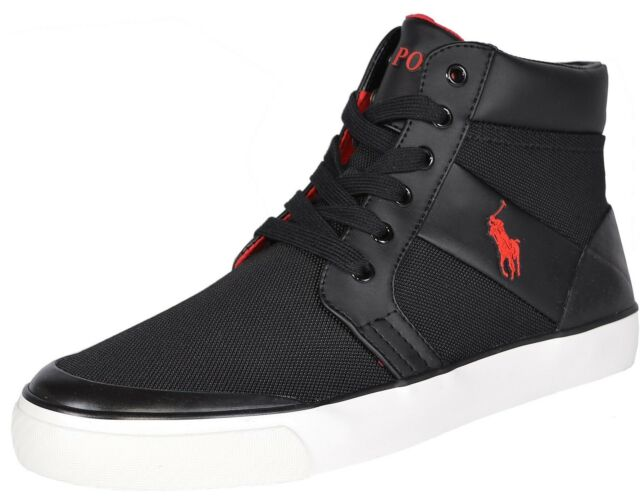 Polo Ralph Lauren Men s Isaak Casual Shoes Size 8.5 Black Red Nylon ... 76015ff5db42