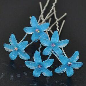 Set 5 épingles à cheveux Lily Fleur Mariage Mariée Bijoux de cheveux strass turquoise bleu nouveau-afficher le titre d`origine tAsDdouF-07155116-259277240