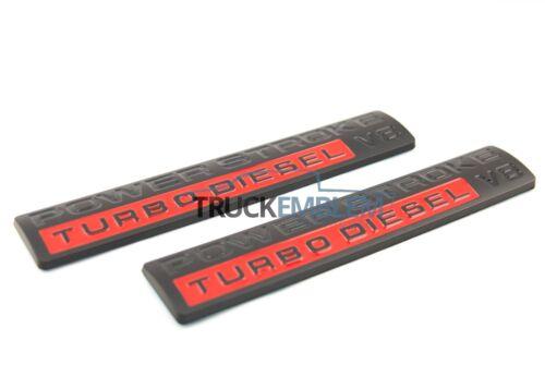 2 NEW OEM 2005-2010 CUSTOM MATTE BLACK POWER STROKE DIESEL DOOR EMBLEMS