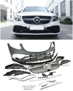 AMG Style Front Bumper Cover Grille Sliver Trim For 16-Up MB X253 GLC Coupe