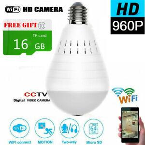 960P Mini Security IP Camera 360° Panoramic SPY Hidden Wifi Wireless Light Bulb