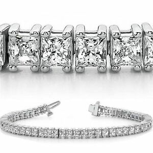10 Carat Princess Cut Diamond Tennis Bracelet 14k White