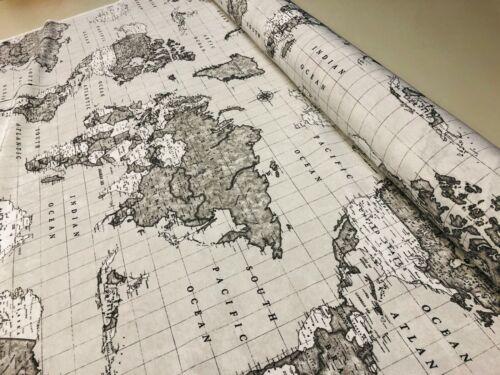 Tela Gris Mapa del Mundo Viaje Vintage Material De Algodón Cortina Atlas 280cm de ancho