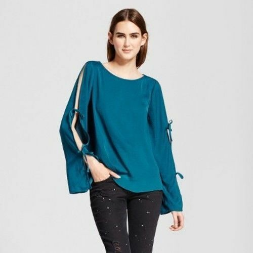 dd0ad9173e0f0f Buy Women's Long Sleeve Blouse With Sleeve Ties Mossimo Color Teal XS  online | eBay