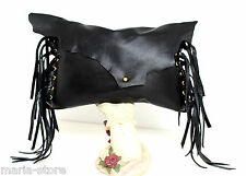 LRG HANDMADE MURKA BLACK GENUINE LEATHER FRINGES ARTISAN PURSE CLUTCH HAND BAG