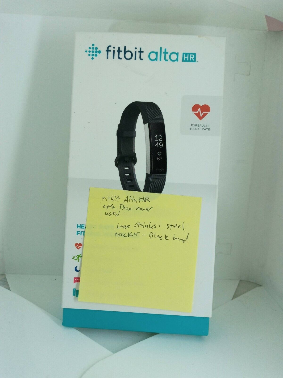 NEW Fitbit Alta HR Activity Fitness Tracker in Black / Stainless Steel - Large activity alta black fitbit fitness large new stainless steel tracker