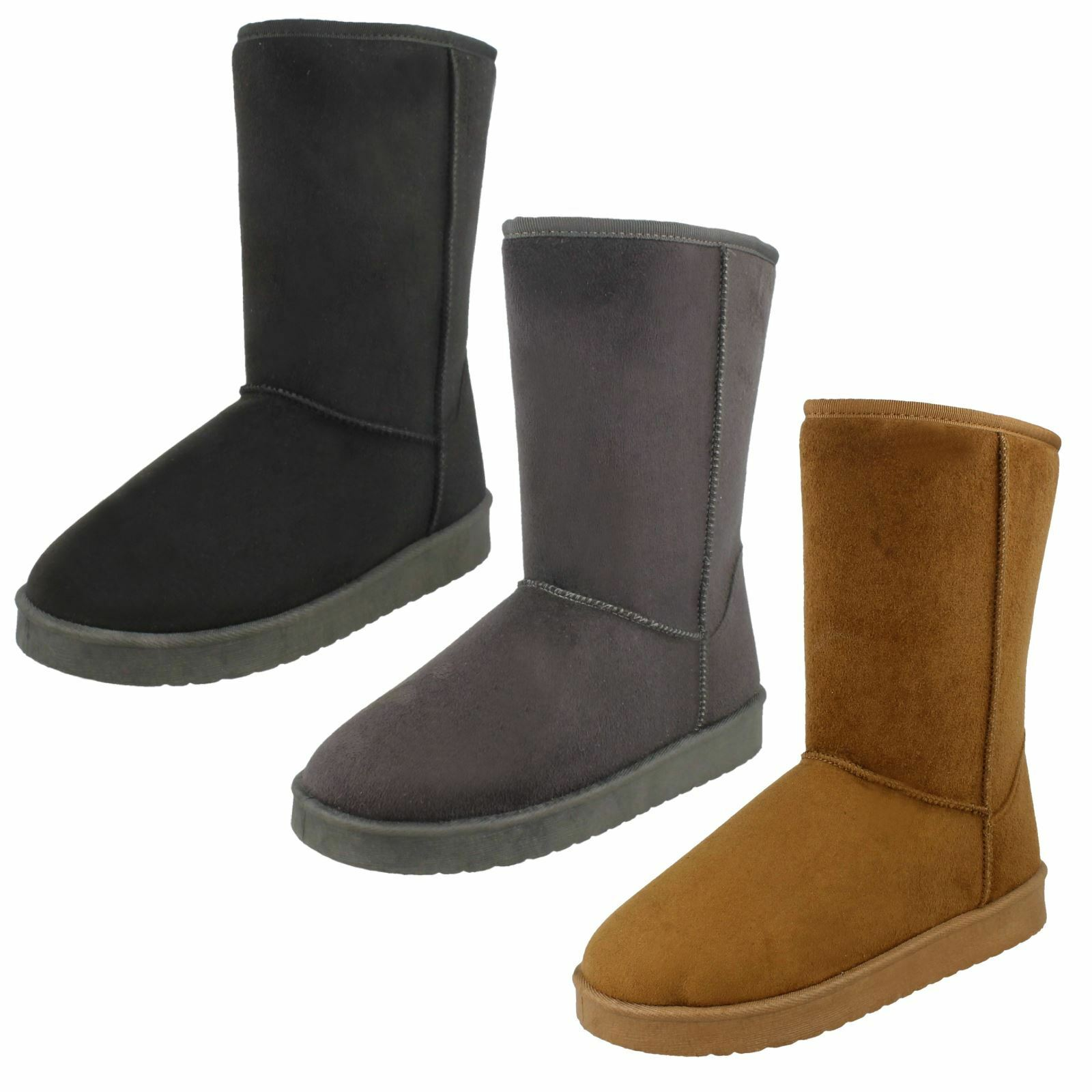 Ladies Spot On Mid Length Pull On Fleece Lined Suede Effect Boots F4R406