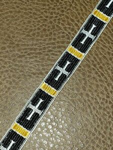 Vintage-Vestment-Cruz-Borde-Galloon-Blanco-Cruz-en-Negro-1-3cm-Ancho-4-6m