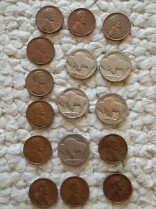 VINTAGE-US-Coin-Lot-Of-16-Buffalo-Nickels-amp-One-Cent-1910s-1930s-FREE-SHIPPING