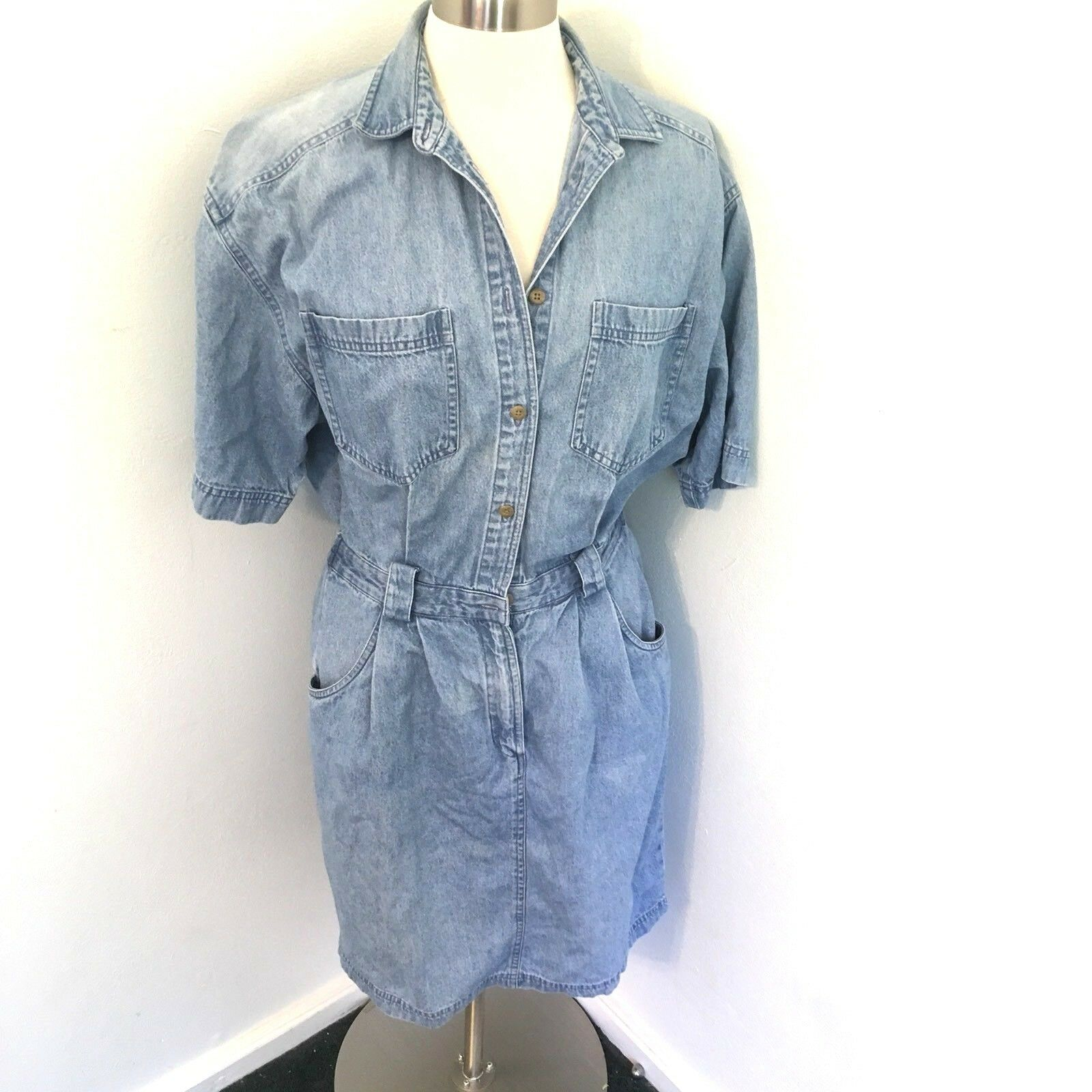 Vintage 90's Denim Dress Jean Short Sleeve Distressed Grunge Button Up Hipster