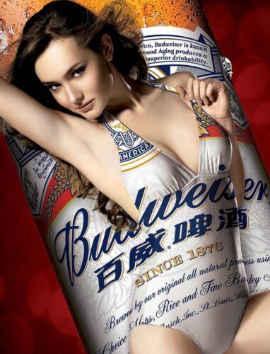 "TIN SIGN /"" Bud Girl Brunette Bottle/"" Pinup Babe Deco Garage Wall Decor"