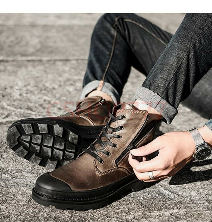 Mens lace up Leather Ankle High Top Boots Combat Side Zipper outdoor shoes Hot