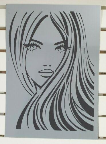 Belle femme visage cheveux Pochoir Mylar Feuille A4 solide réutilisable mur Craft DECO
