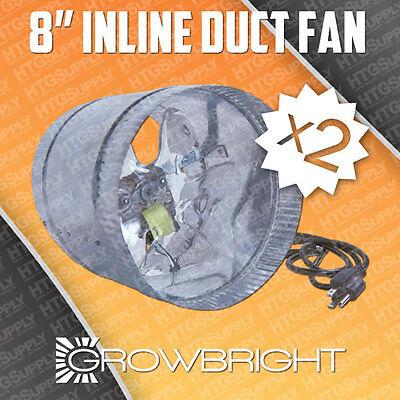 """2x - 8"""" DUCT FAN 300/500 CFM Booster Grow Light Hood Inline Cool Air Blower inch"""