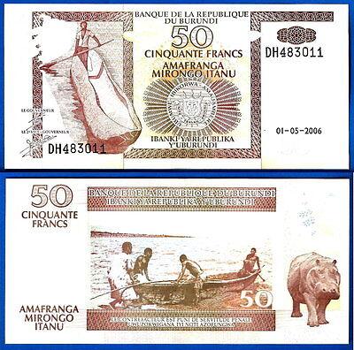 Burundi 50 Francs Uncirculated 2006 Note